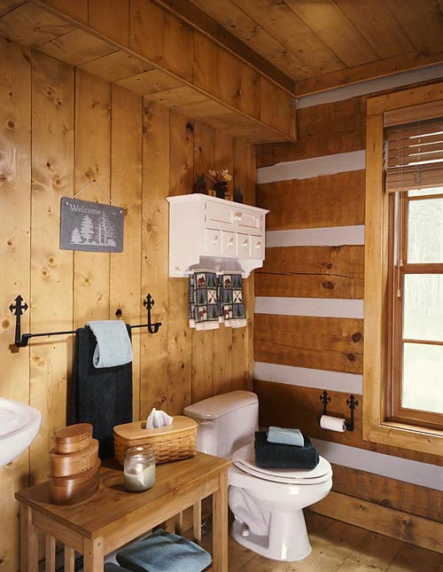 Log home bathrooms for Log cabin bathrooms